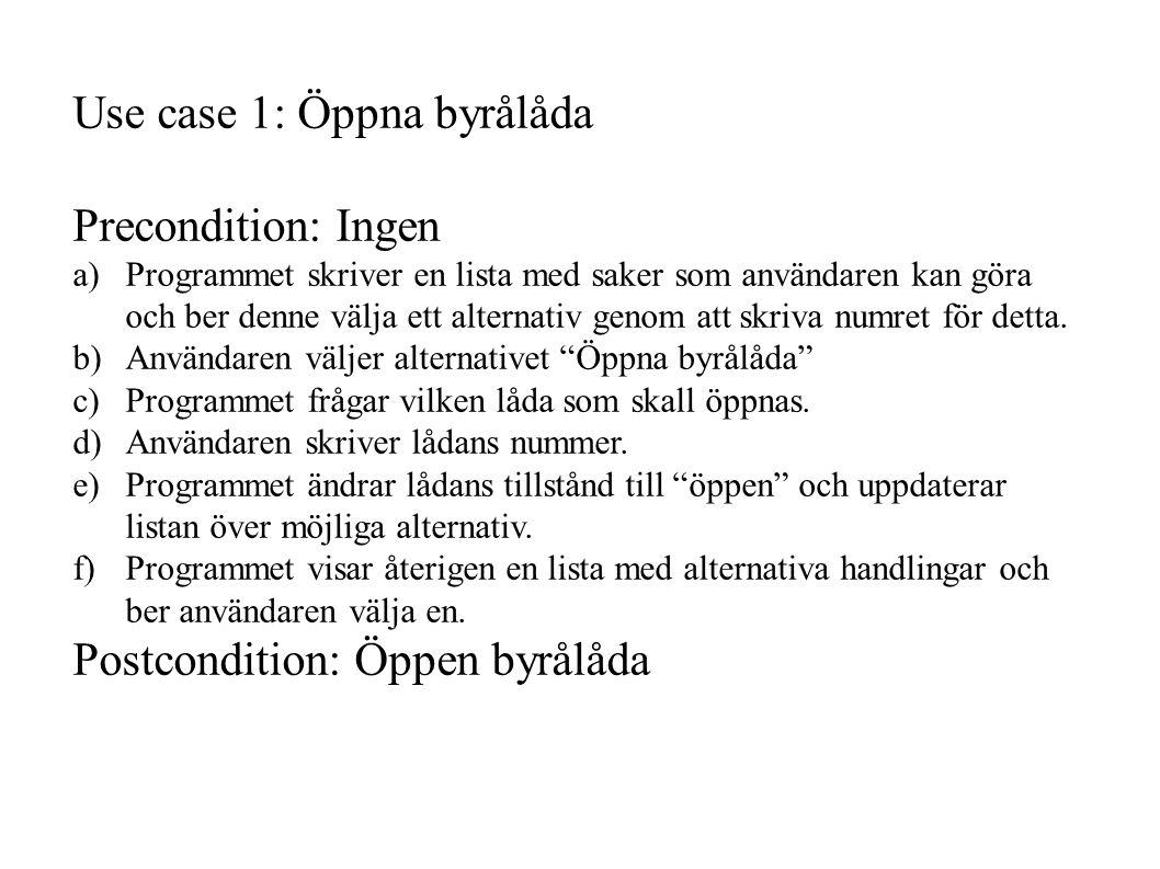 Use case 1: Öppna byrålåda Precondition: Ingen a) Programmet skriver en lista med saker som användaren kan göra och ber denne välja ett alternativ genom att skriva numret för detta.