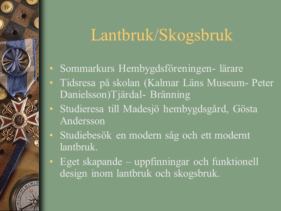 Lantbruk/Skogsbruk Sommarkurs Hembygdsföreningen- lärare Tidsresa på skolan (Kalmar Läns Museum- Peter Danielsson)Tjärdal- Bränning Studieresa till Ma