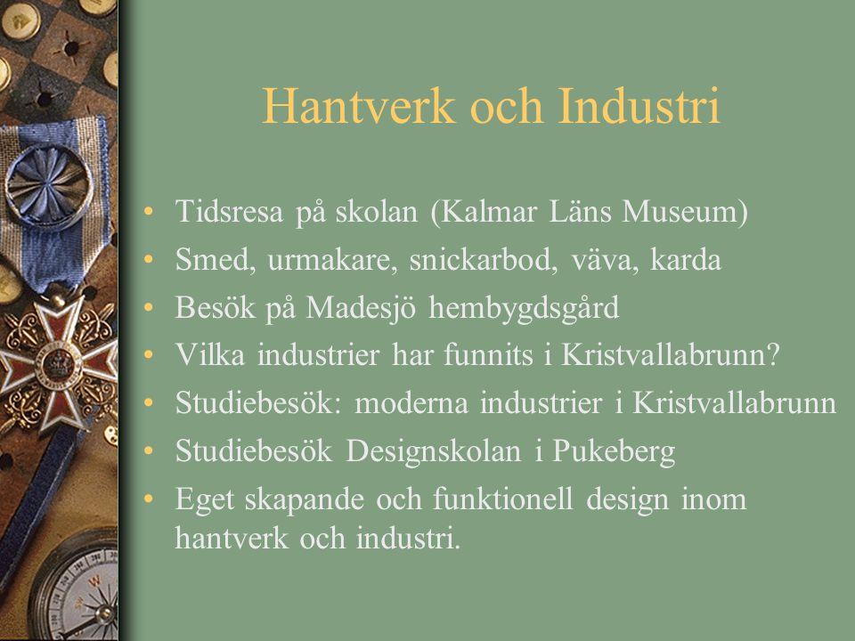 Hantverk och Industri Tidsresa på skolan (Kalmar Läns Museum) Smed, urmakare, snickarbod, väva, karda Besök på Madesjö hembygdsgård Vilka industrier h