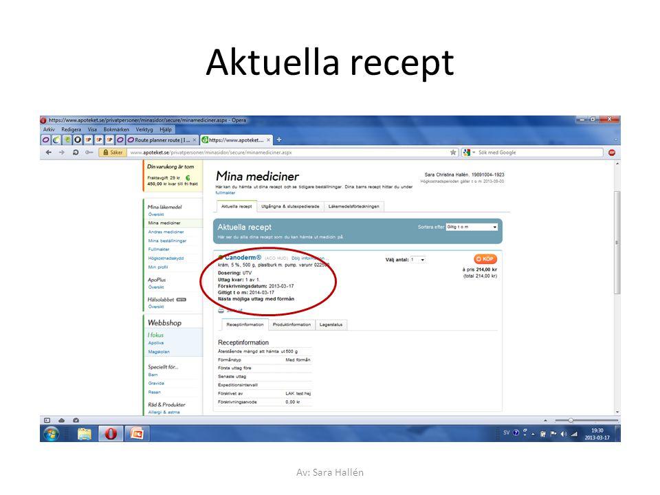 Aktuella recept Av: Sara Hallén