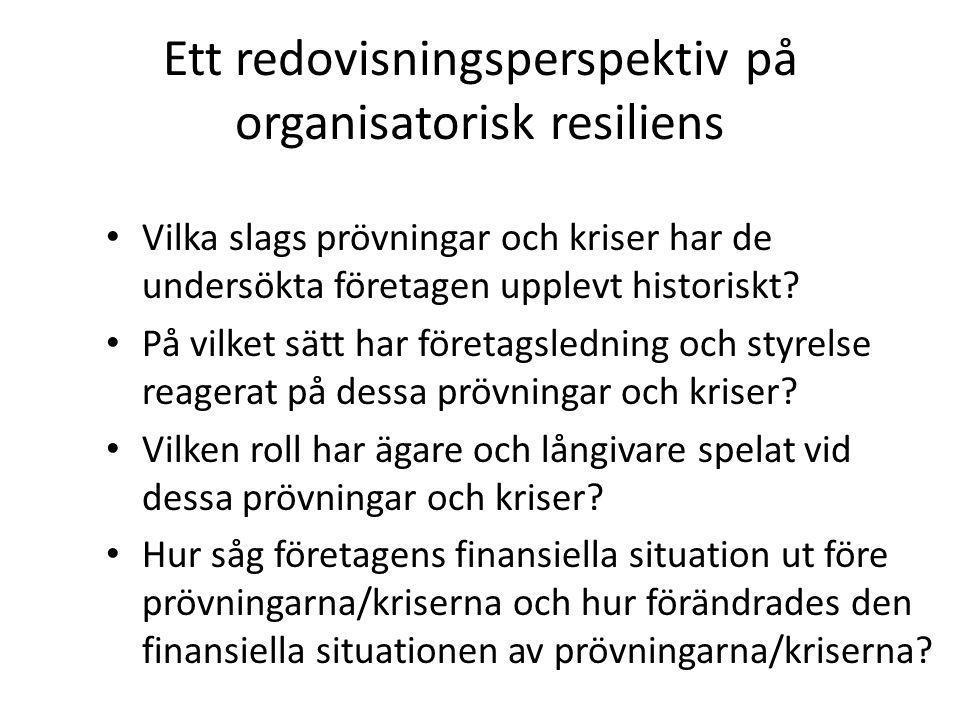 Ett redovisningsperspektiv på organisatorisk resiliens Vilka slags prövningar och kriser har de undersökta företagen upplevt historiskt.