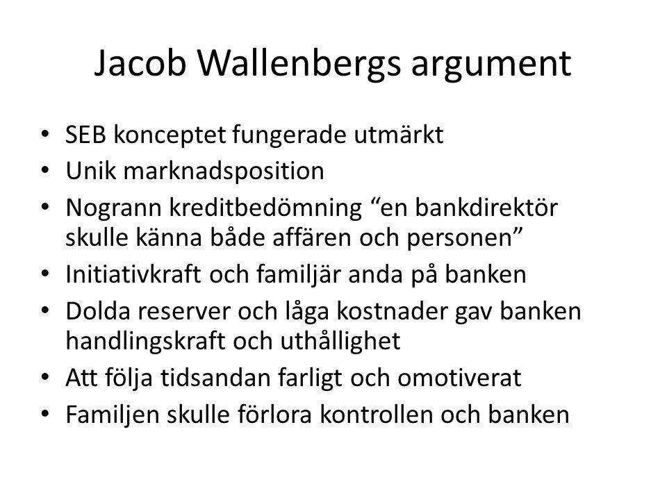 Jacob Wallenbergs argument SEB konceptet fungerade utmärkt Unik marknadsposition Nogrann kreditbedömning en bankdirektör skulle känna både affären och personen Initiativkraft och familjär anda på banken Dolda reserver och låga kostnader gav banken handlingskraft och uthållighet Att följa tidsandan farligt och omotiverat Familjen skulle förlora kontrollen och banken