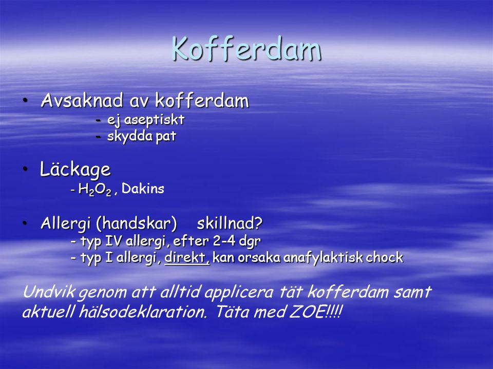 Trepanation Svårt att hitta kanalerSvårt att hitta kanaler - trepanera rätt, skär kuspar om det behövs - sondera rotytor (ex.