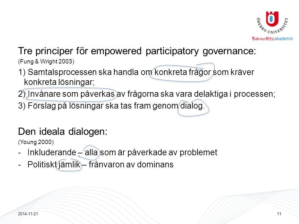 Tre principer för empowered participatory governance: (Fung & Wright 2003) 1) Samtalsprocessen ska handla om konkreta frågor som kräver konkreta lösningar; 2) Invånare som påverkas av frågorna ska vara delaktiga i processen; 3) Förslag på lösningar ska tas fram genom dialog.