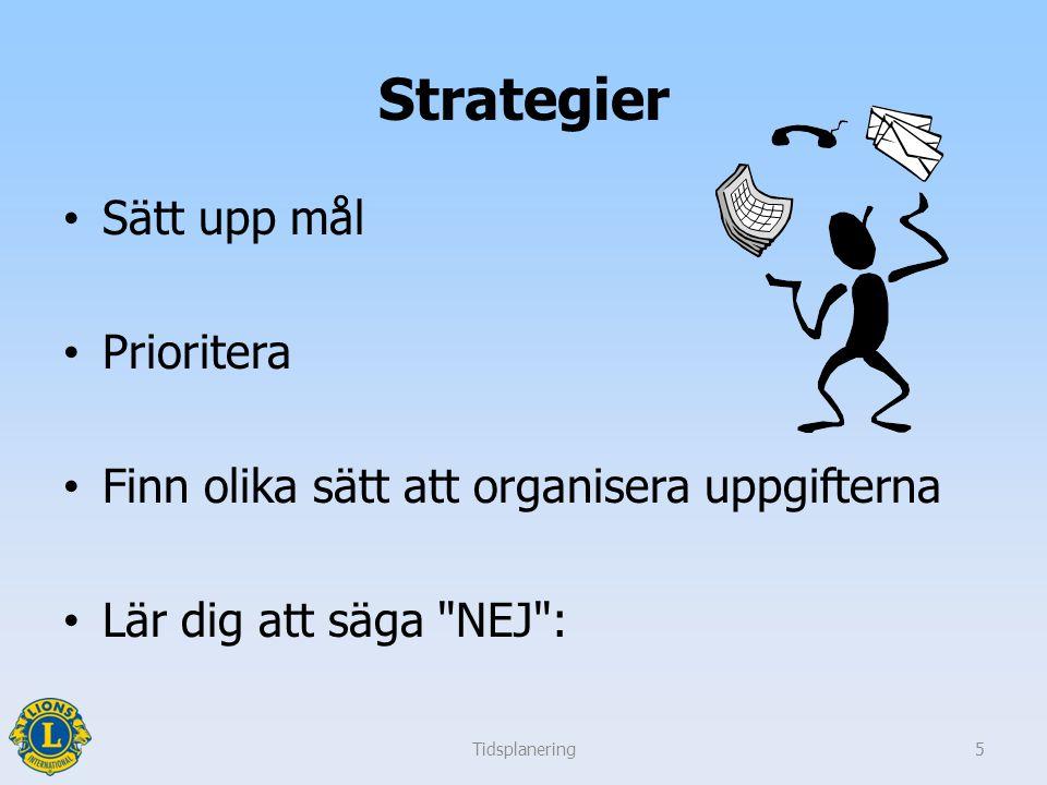 Strategier Sätt upp mål Prioritera Finn olika sätt att organisera uppgifterna Lär dig att säga NEJ : Tidsplanering5