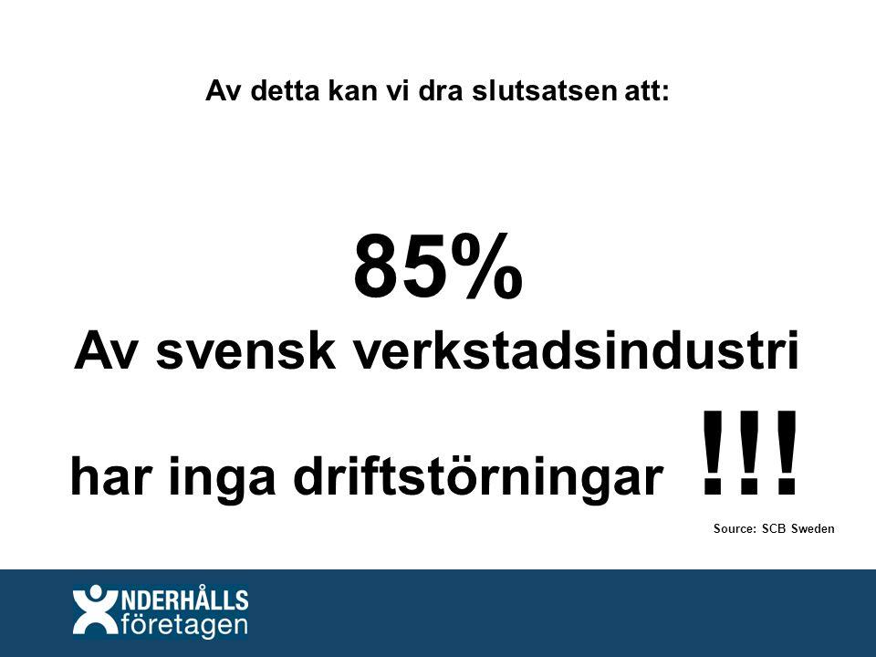 Av detta kan vi dra slutsatsen att: 85% Av svensk verkstadsindustri har inga driftstörningar !!.