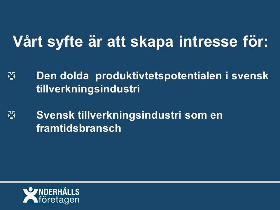 Vårt syfte är att skapa intresse för: Den dolda produktivtetspotentialen i svensk tillverkningsindustri Svensk tillverkningsindustri som en framtidsbransch