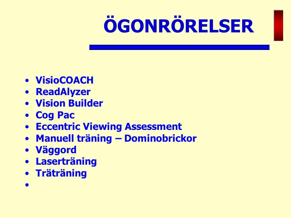 ÖGONRÖRELSER VisioCOACH ReadAlyzer Vision Builder Cog Pac Eccentric Viewing Assessment Manuell träning – Dominobrickor Väggord Laserträning Träträning
