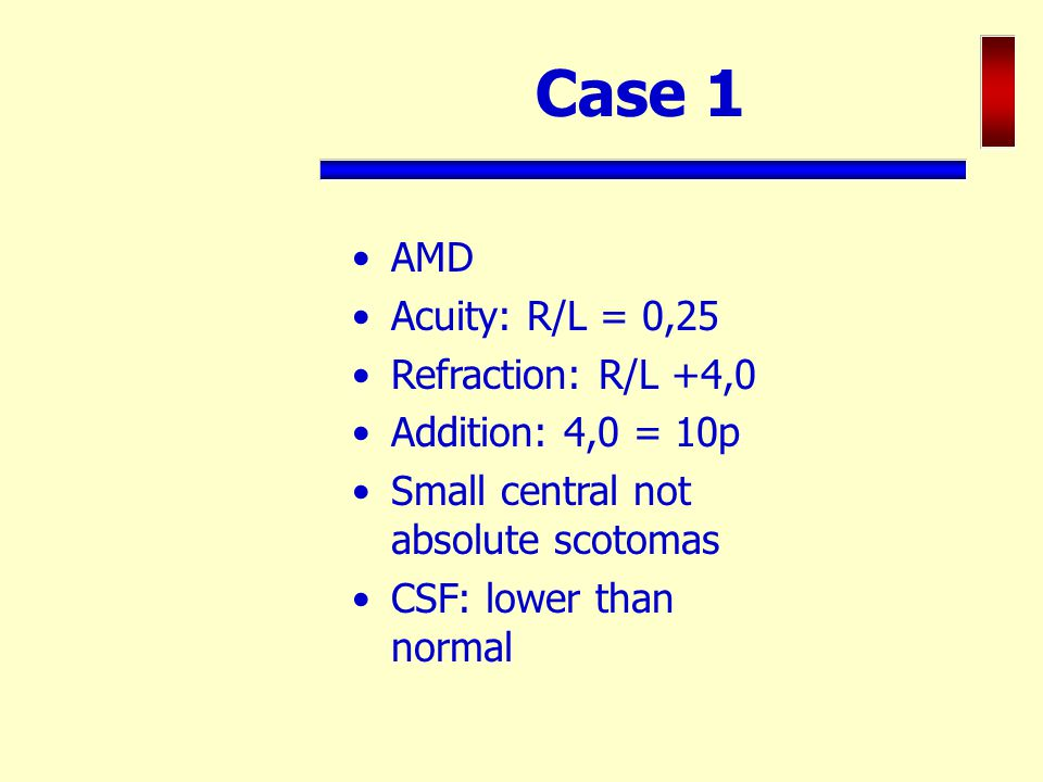 Case 1 AMD Acuity: R/L = 0,25 Refraction: R/L +4,0 Addition: 4,0 = 10p Small central not absolute scotomas CSF: lower than normal