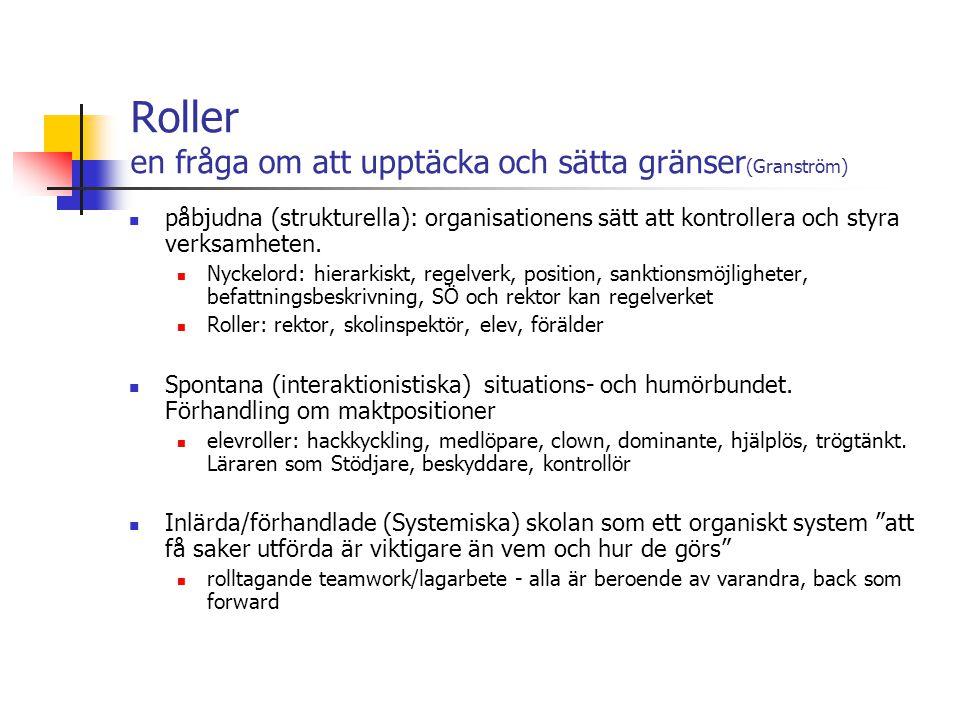Roller en fråga om att upptäcka och sätta gränser (Granström) påbjudna (strukturella): organisationens sätt att kontrollera och styra verksamheten.