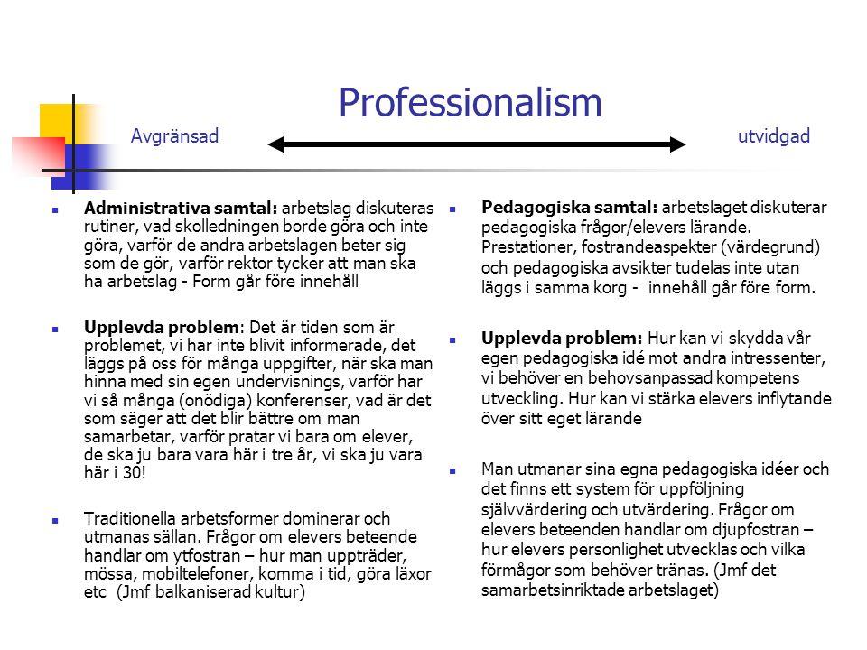 Professionalism Avgränsad utvidgad Administrativa samtal: arbetslag diskuteras rutiner, vad skolledningen borde göra och inte göra, varför de andra arbetslagen beter sig som de gör, varför rektor tycker att man ska ha arbetslag - Form går före innehåll Upplevda problem: Det är tiden som är problemet, vi har inte blivit informerade, det läggs på oss för många uppgifter, när ska man hinna med sin egen undervisnings, varför har vi så många (onödiga) konferenser, vad är det som säger att det blir bättre om man samarbetar, varför pratar vi bara om elever, de ska ju bara vara här i tre år, vi ska ju vara här i 30.