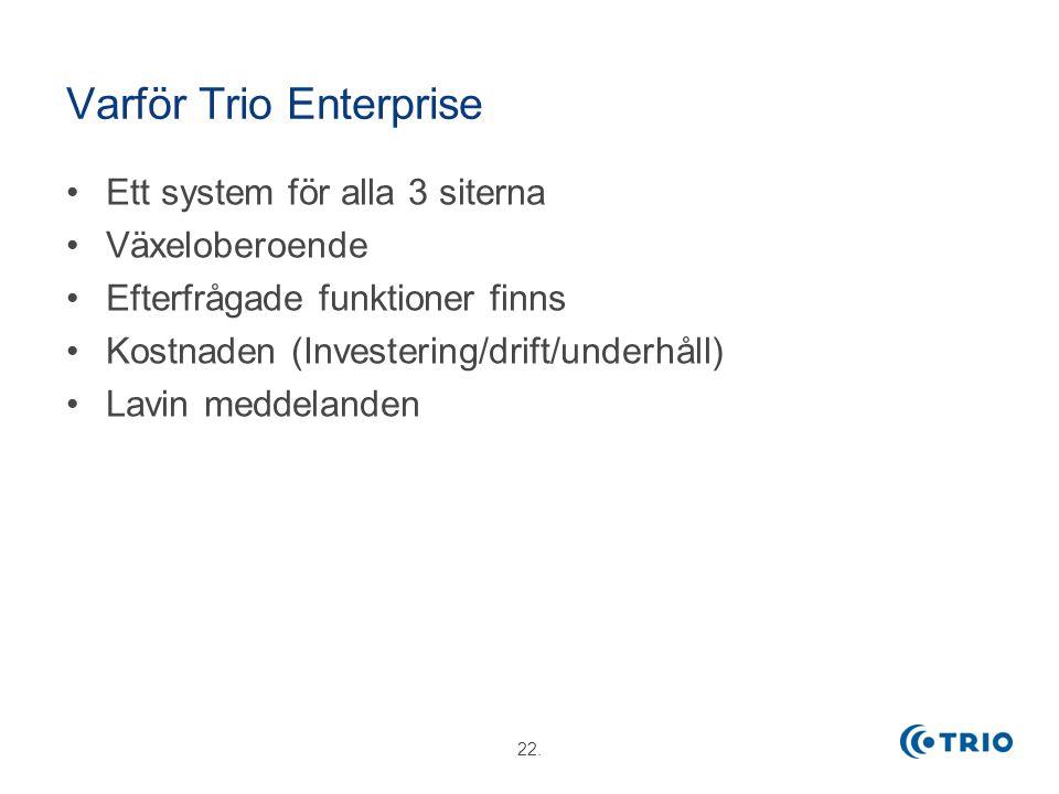 22. Varför Trio Enterprise Ett system för alla 3 siterna Växeloberoende Efterfrågade funktioner finns Kostnaden (Investering/drift/underhåll) Lavin me