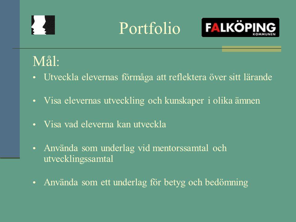 Portfolio Mål : Utveckla elevernas förmåga att reflektera över sitt lärande Visa elevernas utveckling och kunskaper i olika ämnen Visa vad eleverna ka