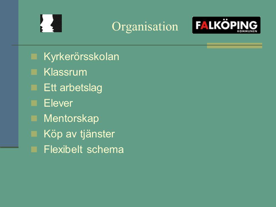 Organisation Kyrkerörsskolan Klassrum Ett arbetslag Elever Mentorskap Köp av tjänster Flexibelt schema