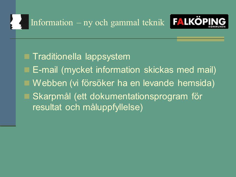 Information – ny och gammal teknik Traditionella lappsystem E-mail (mycket information skickas med mail) Webben (vi försöker ha en levande hemsida) Skarpmål (ett dokumentationsprogram för resultat och måluppfyllelse)