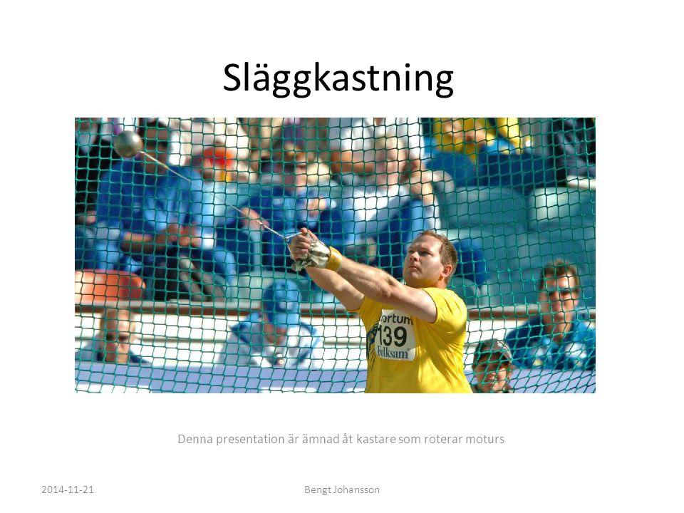 Lite om mig Bengt Johansson – 37 år – Bor och jobbar i Västerås, som Projektledare inom mjukvaruutveckling på Bombardier Transportation – Kastade slägga aktivt under 21 års tid – Personligt rekord med 7.26kg slägga: 76.32m – Personligt rekord med 18kg Vikt: 20.23m – 7 SM Guld (2000 – 2006) – 5 ISM Guld (2003 – 2007) – 11 Finnkamper (1997 – 2007) – 6 Europakupper (2000 – 2005) – NCAA Champion (1997) – Deltagande i VM 2001 (Edmonton) – Deltagande i EM 2002 (München) 2014-11-21Bengt Johansson