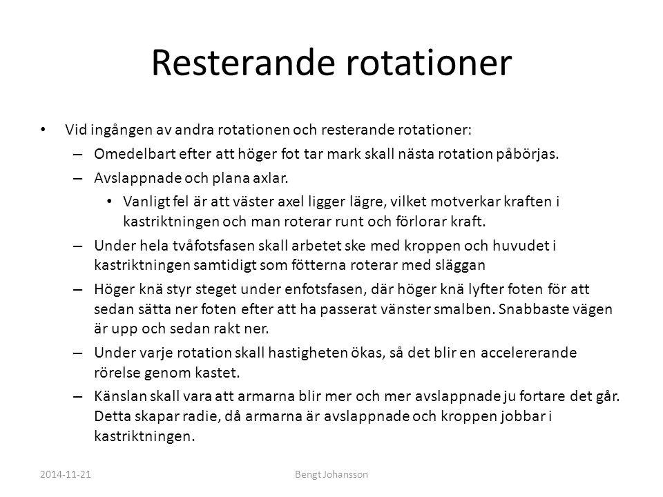 Resterande rotationer Vid ingången av andra rotationen och resterande rotationer: – Omedelbart efter att höger fot tar mark skall nästa rotation påbör