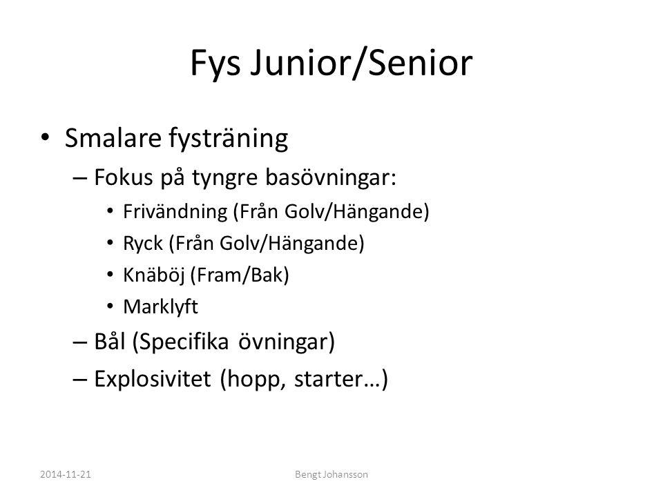 Fys Junior/Senior Smalare fysträning – Fokus på tyngre basövningar: Frivändning (Från Golv/Hängande) Ryck (Från Golv/Hängande) Knäböj (Fram/Bak) Markl