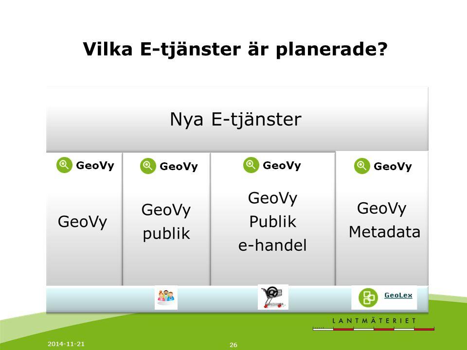 2014-11-21 27 GeoVy Intern En intern webbapplikation för att söka och visa geografisk information och fastighetsinformation.