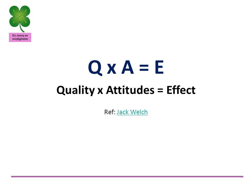 En meny av möjligheter Q x A = E Quality x Attitudes = Effect Ref: Jack WelchJack Welch