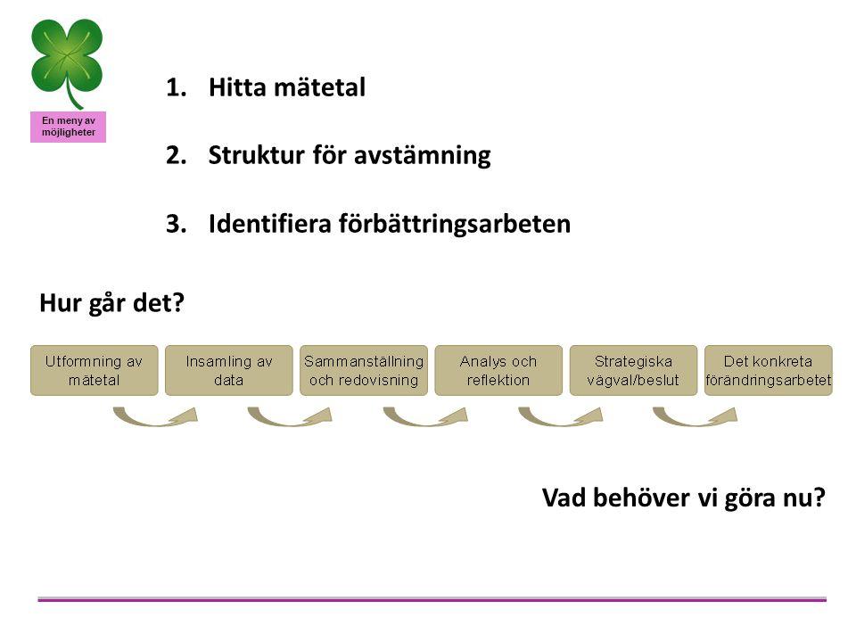 En meny av möjligheter 1.Hitta mätetal 2.Struktur för avstämning 3.Identifiera förbättringsarbeten Hur går det? Vad behöver vi göra nu?