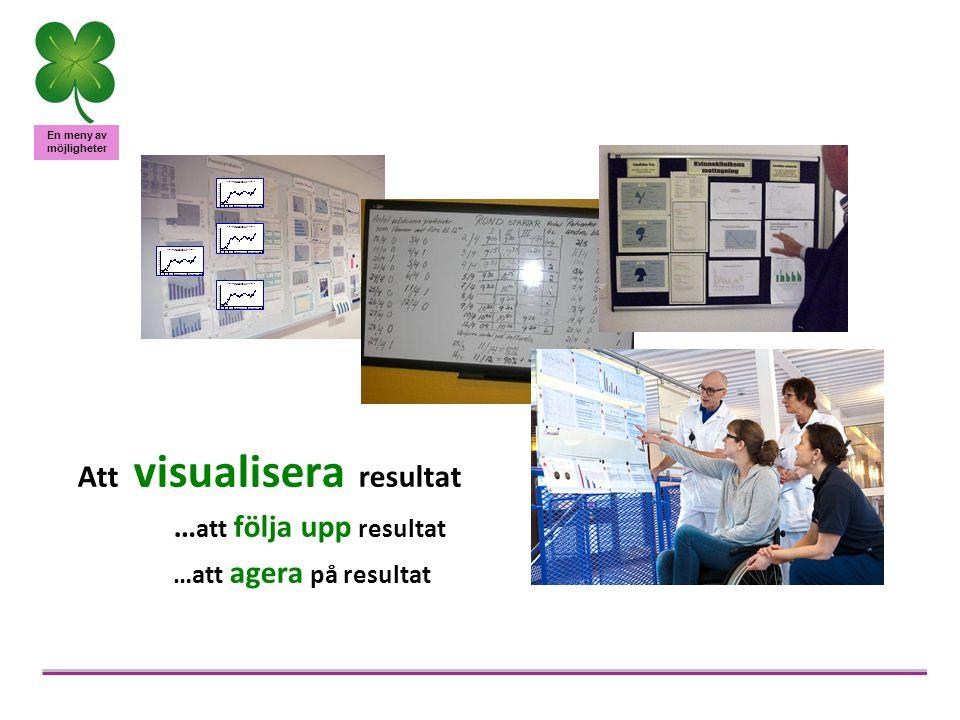 En meny av möjligheter Viktiga aspekter som förbättrar värde vid visualisering av resultat –Presentationen (nära, enkelt, tydligt) –Ritual (återkommande, organiserat, fastställd strategi) –Dialog (engagera, motivera, kommunicera) –Kritisk utvärdering (observera, tolka, förstå, analys, agera) –Pedagogiskt ledarskap Källa: Erfarenheter från lärande av mätetal, pågående forskning, Bridging the Gap, Ann-Charlott Norman