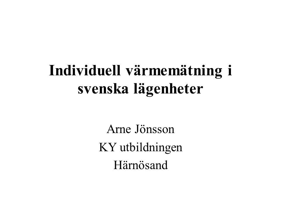 Individuell värmemätning i svenska lägenheter Arne Jönsson KY utbildningen Härnösand