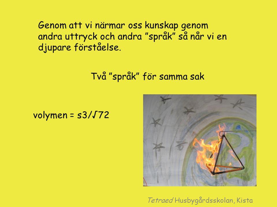 """Genom att vi närmar oss kunskap genom andra uttryck och andra """"språk"""" så når vi en djupare förståelse. volymen = s3/√72 Två """"språk"""" för samma sak Tetr"""