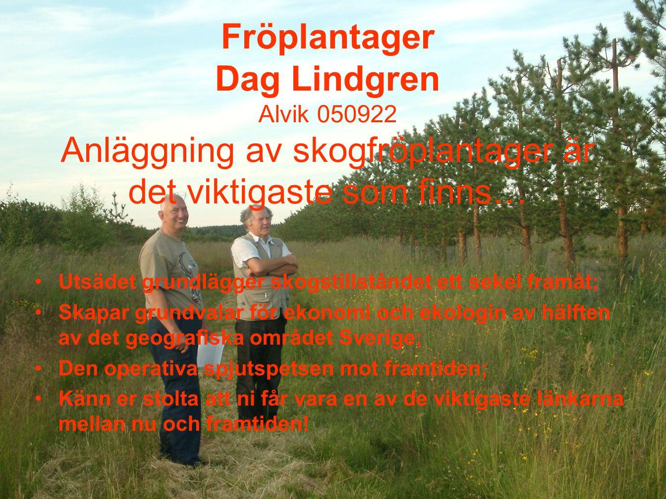 1 Fröplantager Dag Lindgren Alvik 050922 Anläggning av skogfröplantager är det viktigaste som finns… Utsädet grundlägger skogstillståndet ett sekel fr