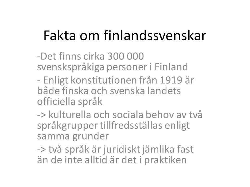 Den största delen av svenskspråkiga i Finland härstammar från småbrukare och fiskare som bosatte sig på den finska kusten före och efter 1200-talet Allmän uppfattning om finlandssvenskar har ändå fått intryck från en annan, mycket mindre del av svenskspråkigt folk i Finland; från svenskspråkig överklass som föddes när Finland hörde till Sverige (före 1809)