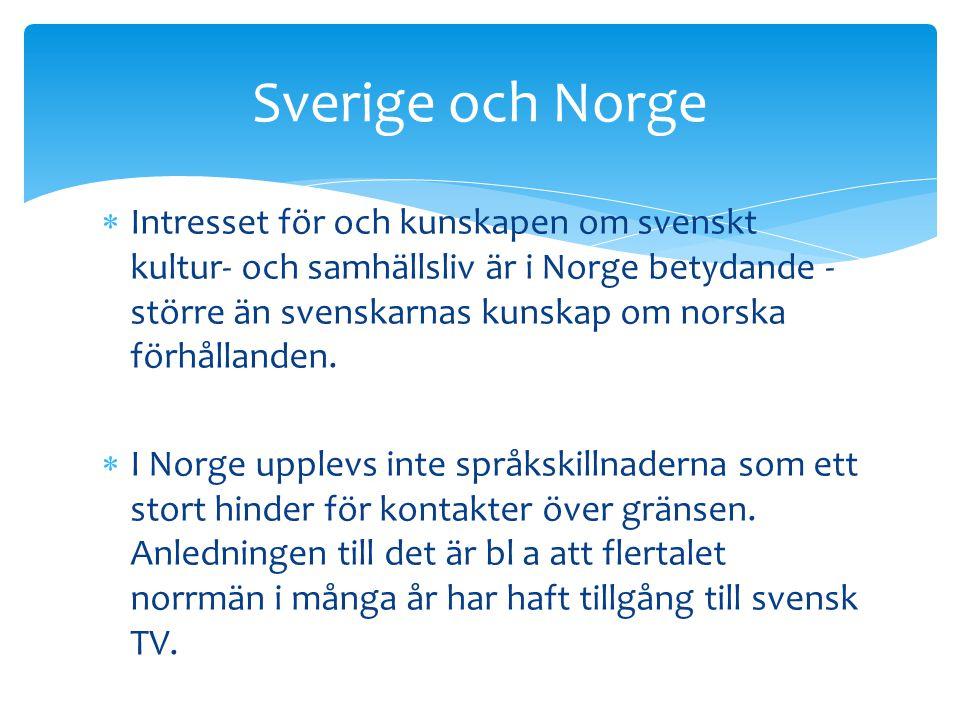  Intresset för och kunskapen om svenskt kultur- och samhällsliv är i Norge betydande - större än svenskarnas kunskap om norska förhållanden.  I Norg