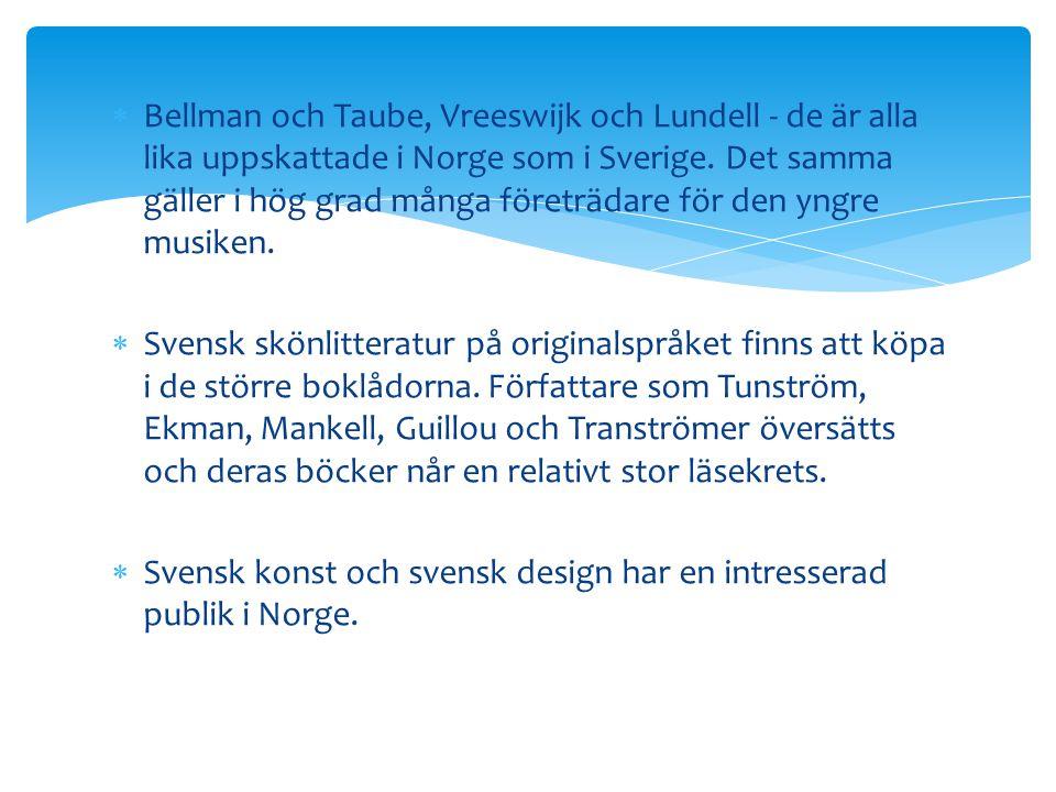 Bellman och Taube, Vreeswijk och Lundell - de är alla lika uppskattade i Norge som i Sverige. Det samma gäller i hög grad många företrädare för den