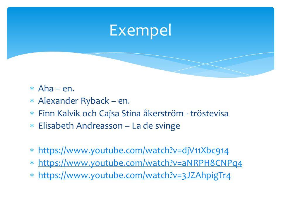  Aha – en.  Alexander Ryback – en.  Finn Kalvik och Cajsa Stina åkerström - tröstevisa  Elisabeth Andreasson – La de svinge  https://www.youtube.