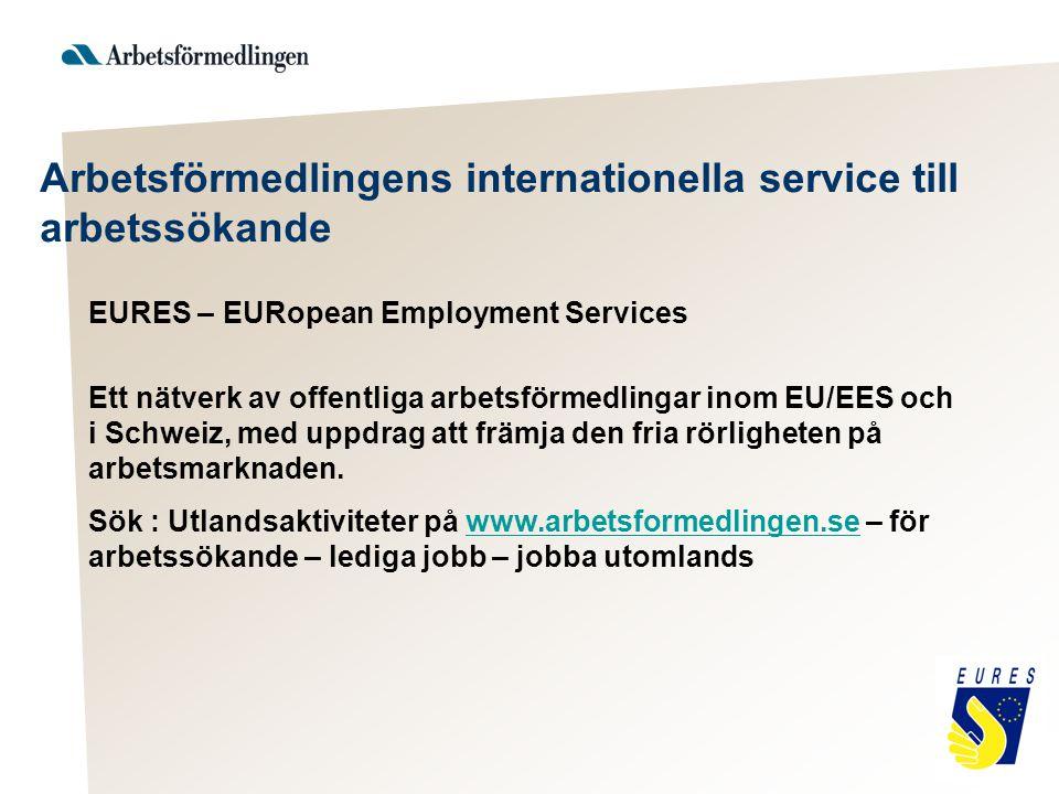 Arbetsförmedlingens internationella service till arbetssökande EURES – EURopean Employment Services Ett nätverk av offentliga arbetsförmedlingar inom