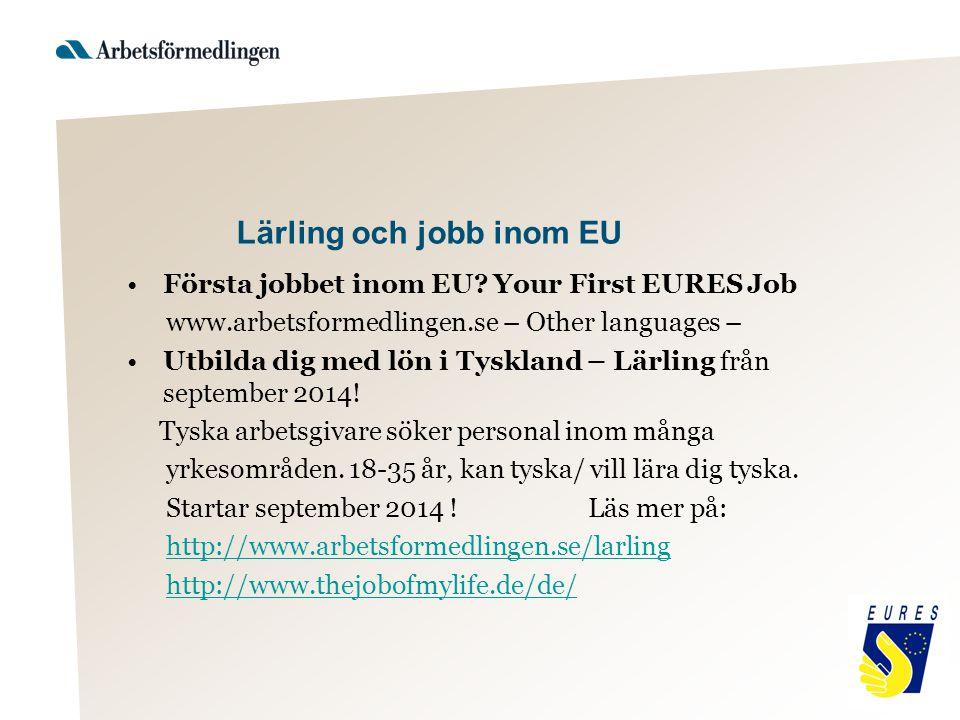 Lärling och jobb inom EU Första jobbet inom EU? Your First EURES Job www.arbetsformedlingen.se – Other languages – Utbilda dig med lön i Tyskland – Lä