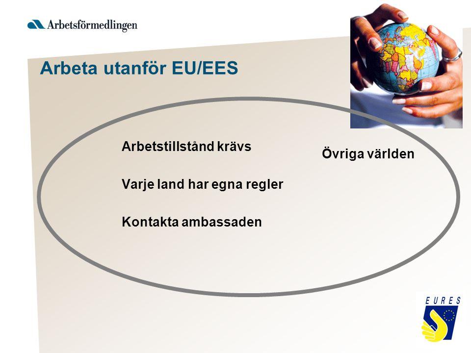 Arbeta utanför EU/EES Arbetstillstånd krävs Varje land har egna regler Kontakta ambassaden Övriga världen