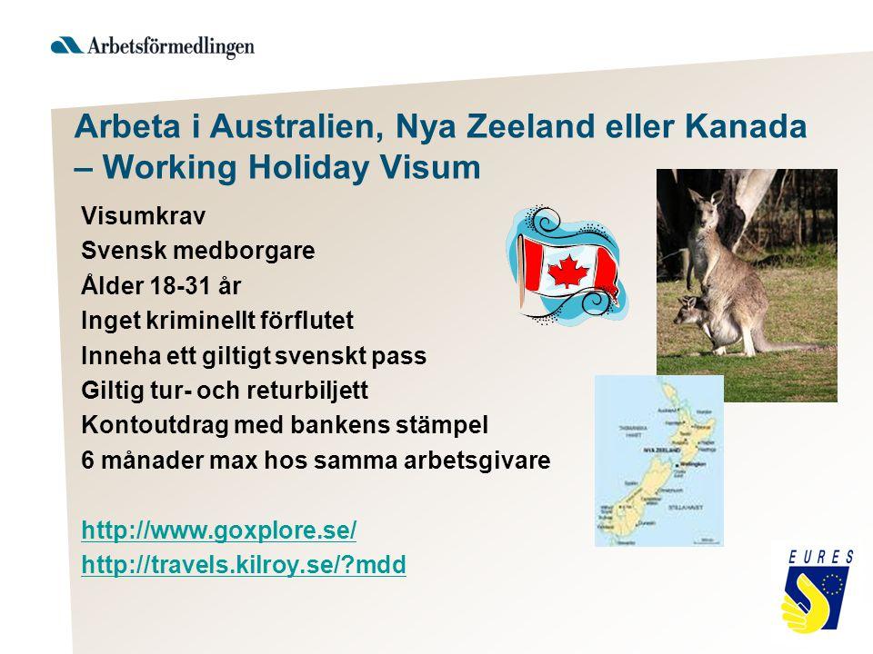 Arbeta i Australien, Nya Zeeland eller Kanada – Working Holiday Visum Visumkrav Svensk medborgare Ålder 18-31 år Inget kriminellt förflutet Inneha ett