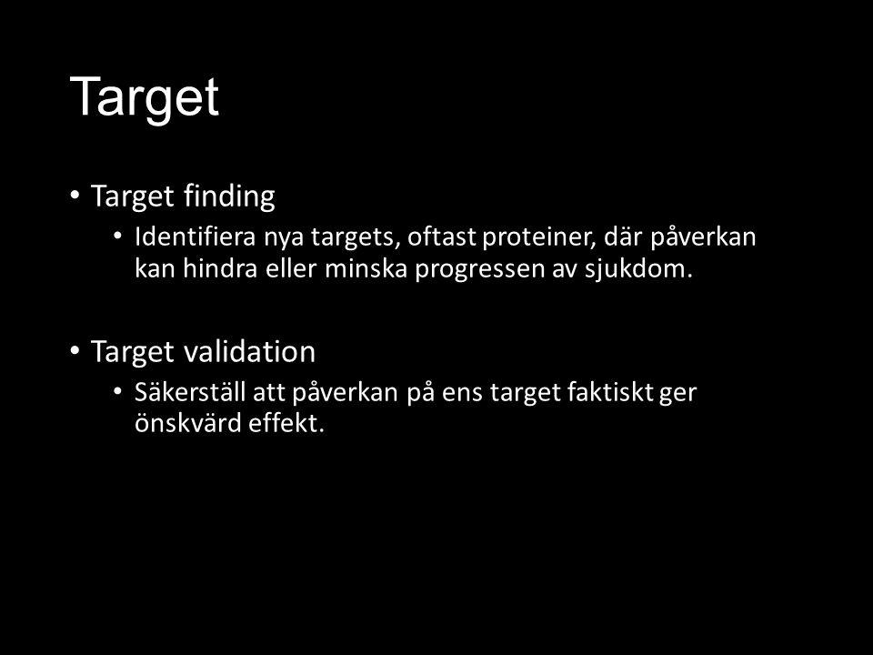 Target Target finding Identifiera nya targets, oftast proteiner, där påverkan kan hindra eller minska progressen av sjukdom.