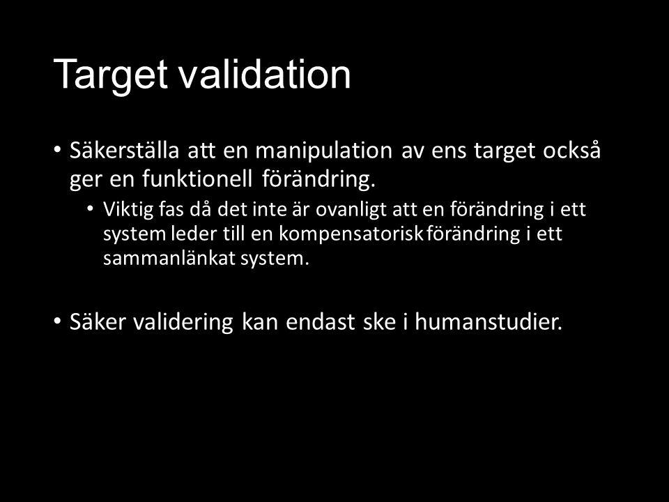 Target validation Säkerställa att en manipulation av ens target också ger en funktionell förändring.
