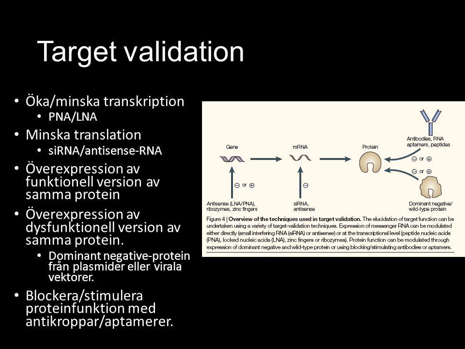 Target validation Öka/minska transkription PNA/LNA Minska translation siRNA/antisense-RNA Överexpression av funktionell version av samma protein Överexpression av dysfunktionell version av samma protein.