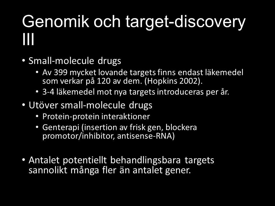 Genomik och target-discovery III Small-molecule drugs Av 399 mycket lovande targets finns endast läkemedel som verkar på 120 av dem.