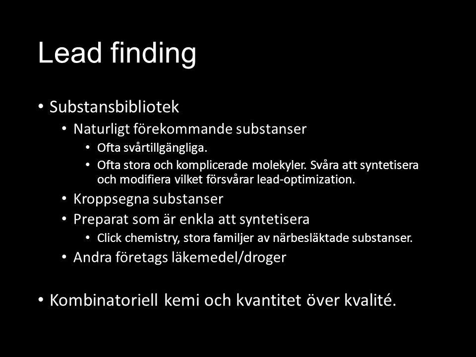 Lead finding Substansbibliotek Naturligt förekommande substanser Ofta svårtillgängliga.