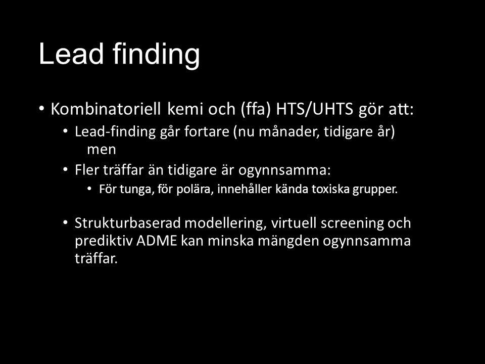 Lead finding Kombinatoriell kemi och (ffa) HTS/UHTS gör att: Lead-finding går fortare (nu månader, tidigare år) men Fler träffar än tidigare är ogynnsamma: För tunga, för polära, innehåller kända toxiska grupper.