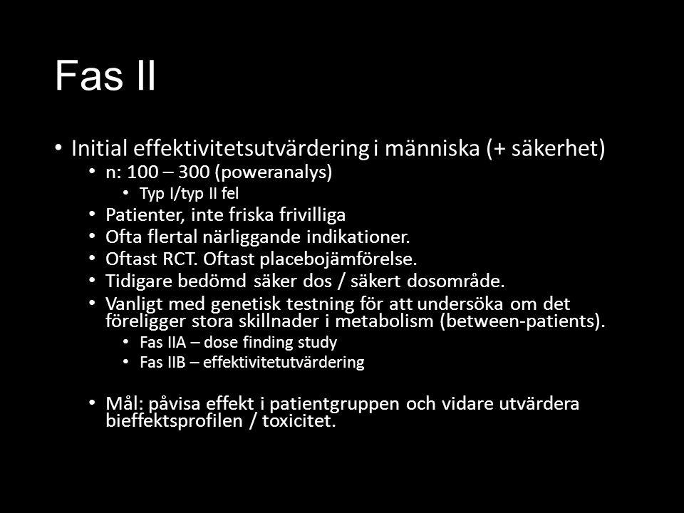 Fas II Initial effektivitetsutvärdering i människa (+ säkerhet) n: 100 – 300 (poweranalys) Typ I/typ II fel Patienter, inte friska frivilliga Ofta flertal närliggande indikationer.