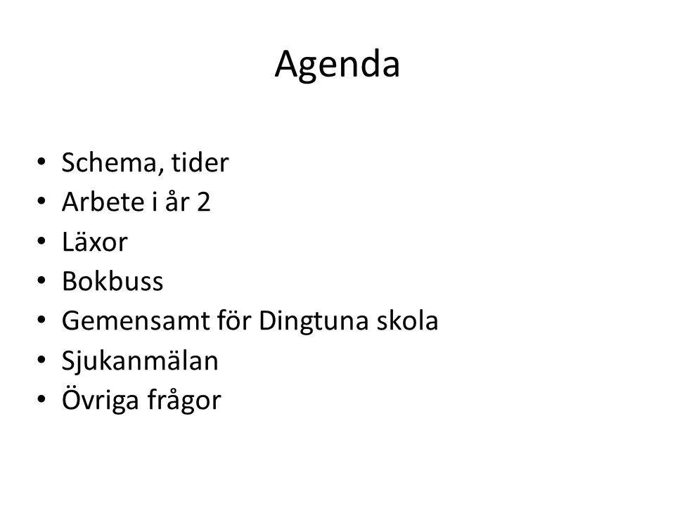 Agenda Schema, tider Arbete i år 2 Läxor Bokbuss Gemensamt för Dingtuna skola Sjukanmälan Övriga frågor