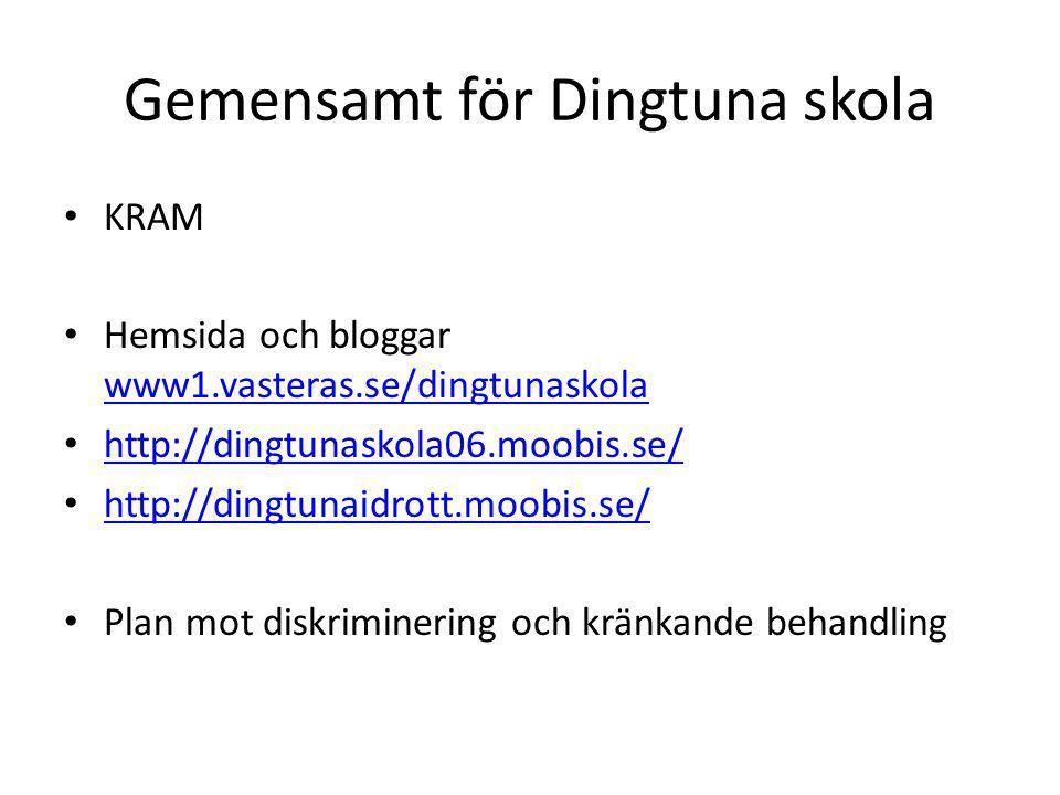 Gemensamt för Dingtuna skola KRAM Hemsida och bloggar www1.vasteras.se/dingtunaskola www1.vasteras.se/dingtunaskola http://dingtunaskola06.moobis.se/ http://dingtunaidrott.moobis.se/ Plan mot diskriminering och kränkande behandling