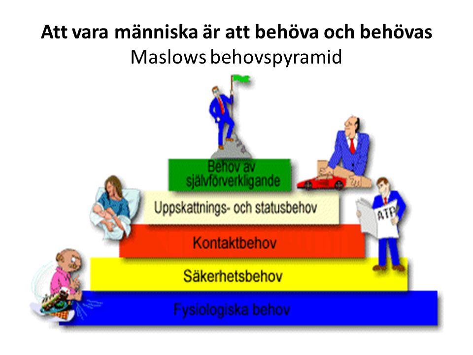 Att vara människa är att behöva och behövas Maslows behovspyramid