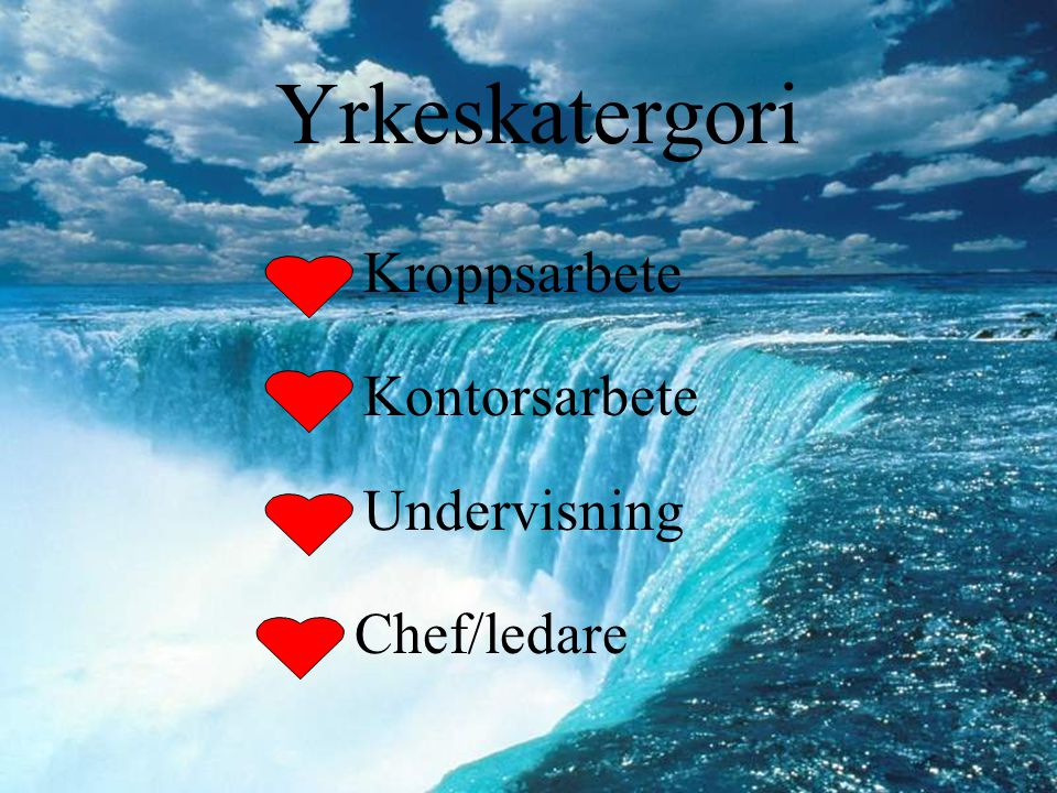 Yrkeskatergori Kroppsarbete Kontorsarbete Undervisning Chef/ledare