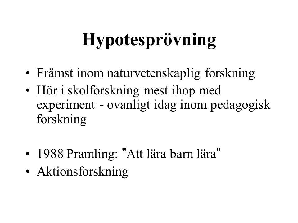 Hypotesprövning Främst inom naturvetenskaplig forskning Hör i skolforskning mest ihop med experiment - ovanligt idag inom pedagogisk forskning 1988 Pr