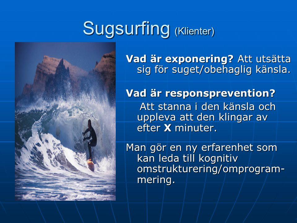 Sugsurfing (Klienter) Väldig bra teknik Exponering med responsprevention i fantasin och i verkligheten Exponering med responsprevention i fantasin och i verkligheten
